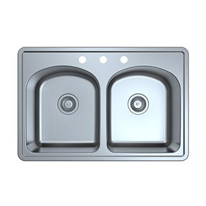 Omax Omax Stainless Steel Kitchen Sink 50/50 Double Bowl Drop in