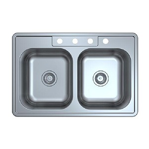 Omax Stainless Steel Kitchen Sink 50/50 Double Bowl Drop in