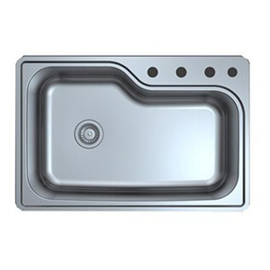 Omax Stainless Steel Kitchen Sink Single Bowl Curved Drop in