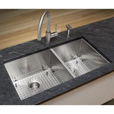 Omax 60/40 Stainless Steel Handmade Kitchen Sink