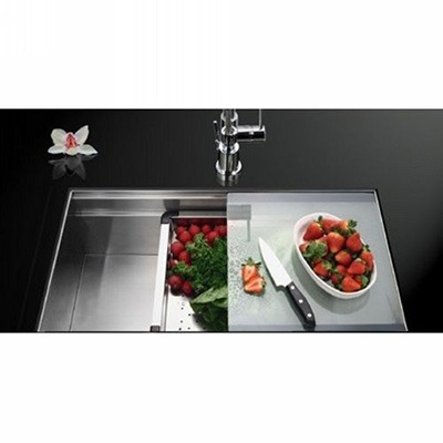 Omax Handmade Stainless Steel Kitchen Sink with Sliding Rail